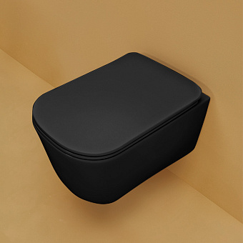 Kerasan Tribeca Унитаз подвесной 540*350 безободковый, с системой экономии воды 3л, c креплением WB9N, цвет: черный матовый  с сиденьем белым микролифт