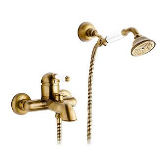 Nicolazzi P.m. Blanc Смеситель для ванны однорычажный, настенный, с ручным душем, ручки белая керамика, цвет: бронза