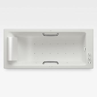 Armani Roca Island Встраиваемая ванна 180х80см а/мас. хромотер. термостат руч. душ, Hide-Flow, ручки, мягкий подголовник, цвет: off-white/хром