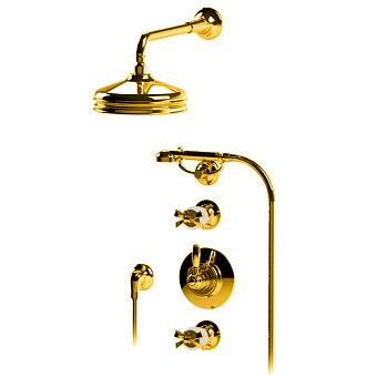 """Petracers Aquadolce, Встраиваемый термостатический смеситель для душа 1/2"""" на матовом слоновой кости, цвет: золото"""