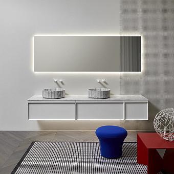 Antonio Lupi Bemade Комплект подвесной мебели с тумбами под раковину, двумя раковинами Carrara, зеркалом с подсветкой, 90 см, цвет: Bianco opaco