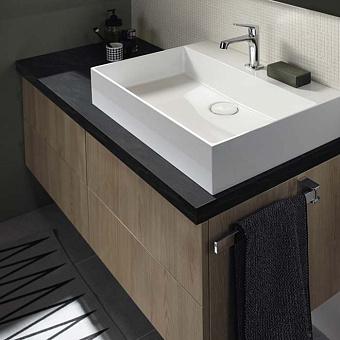 Burgbad Sys30 Комплект мебели: тумба с раковиной 650х540х480 мм, 2 ящика, с сифоном, ручки хром, с зеркалом и светильником, цвет: Eiche Dekor Cashmere