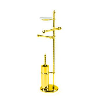 StilHaus Giunone Стойка: мыльница + полотенцедержатель + бумагодержатель + ерш, цвет: золото/керамика