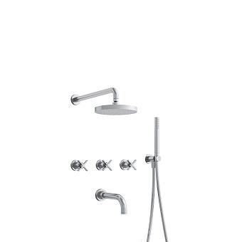 Cristina Cross Road Душевой комплект: смеситель встраиваемый, верхний душ, ручной душ, гибкий шланг, цвет: хром