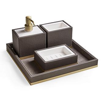3SC Milano Комплект: стакан, дозатор, мыльница, лоток, цвет: коричневая эко-кожа/золото 24к. Lucido