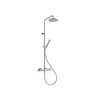 Cristina Cross Road Душевой комплект: смеситель термостатический, стойка с верхним душем, ручной душ, гибкий шланг, цвет: хром