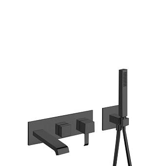 Cristina Quadri Смеситель для ванны/душа с переключателем на 2 выхода, встраиваемый, цвет: черный матовый