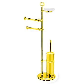 StilHaus Elite Стойка: мыльница + полотенцедержатель + бумагодержатель закрытый + ерш, цвет: золото