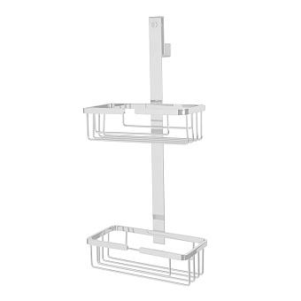 3SC APPY Полочка-корзинка двойная 25х12хh57см, подвесная на стекло, цвет: белый матовый
