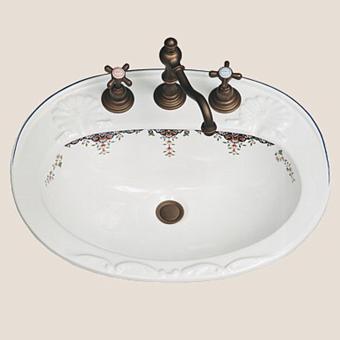Herbeau Charlotte Раковина 57х45 см, 3 отв., цвет: белый с декором