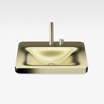 Armani Roca Baia Раковина встраиваемая сверху 66x47см с 2 отв. под смеситель, со скр. переливом, цвет: matt gold