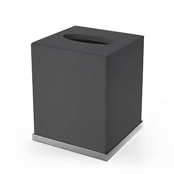 3SC Mood Deluxe Контейнер для бумажных салфеток, 24х7х13 см, прямоугольный, настольный, композит Solid Surface, цвет: чёрный матовый/хром
