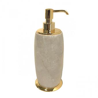 3SC Elegance Дозатор для жидкого мыла, настольный, цвет: мрамор botticino/золото 24к. Lucido