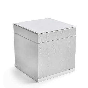 3SC Snowy Коробочка универсальная, 14х14хh14см, с крышкой, настольная, цвет: белая эко-кожа/белый матовый