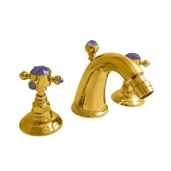 Nicolazzi Le Pietre Смеситель для биде на 3 отверстия, излив: 119мм, цвет:  золото