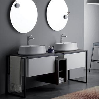 SIMAS Frame Комплект мебели с 2 ящиками и открытым элементом, 181x57xh72см, Цвет: серый ясень/белый