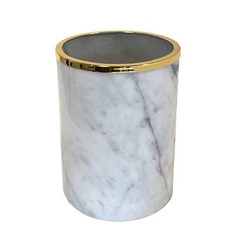 3SC Elegance Ведро без крышки 20х20хh28см, цвет: мрамор bianco carrara/золото 24к. Lucido