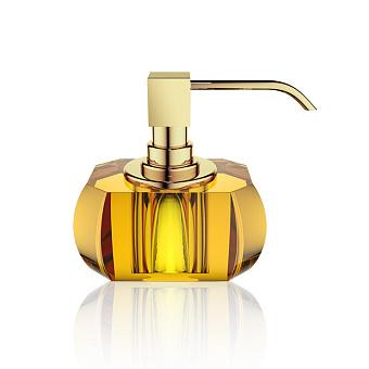 Decor Walther Kristall SSP Дозатор для мыла, настольный, хрустальное стекло, цвет: янтарь / золото