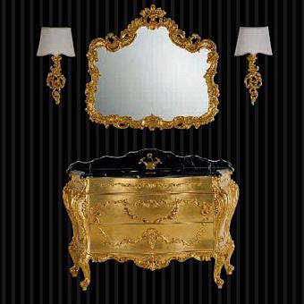 Mobili Di Castello Renoir Комплект мебели 84х141х62 см: напольная тумба, мраморная столешница, керамическая раковина, резное зеркало, бра, мрамор Nero Marquinia/декор Renoir gold