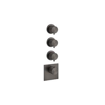 """Gessi 316 Встраиваемый термостатический смеситель на 3 источника, резьба 3/4"""", цвет: brushed black metal pvd"""