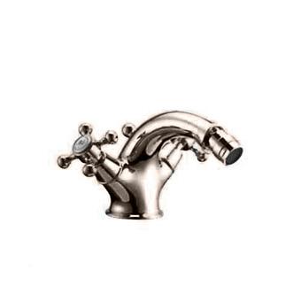 HUBER Victorian Смеситель двухвентильный для биде на 1 отверстие с донным клапаном, цвет никель матовый