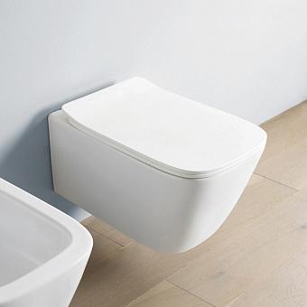 Artceram A16 Унитаз подвесной, 455х36см, (Mini), безободковый, с крепежом, цвет: белый матовый