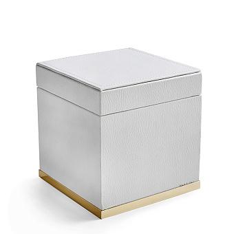 3SC Snowy Коробочка универсальная, 14х14хh14см, с крышкой, настольная, цвет: белая эко-кожа/золото 24к. Lucido