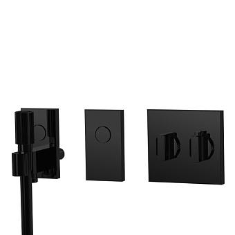 Carlo Frattini Switch Смеситель для душа встраиваемый, термостат, на 2 полож, ручной душ и черный шланг 1500 мм, внешн часть, цвет: черный матовый