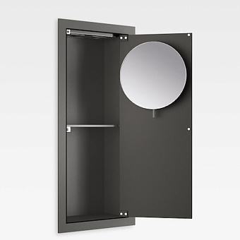 Armani Roca Island Встраиваемый шкафчик 25х13.1хh55см с зеркалом, розетками, полочкой и подсветкой (транформатор 12V/DC не включен) DX, цвет: nero