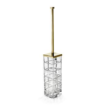 3SC Palace Туалетный ёршик, напольный, цвет: прозрачный хрусталь/золото 24к. Lucido