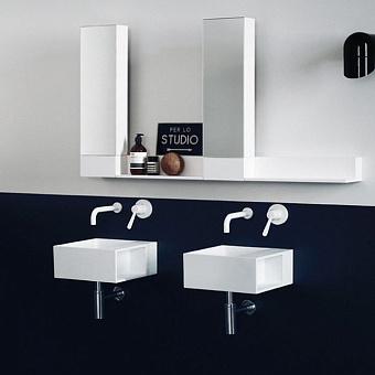 Agape Handwash Раковина подвесная 35x35x15 см, квадратная, без отв., с полочкой, цвет: белый