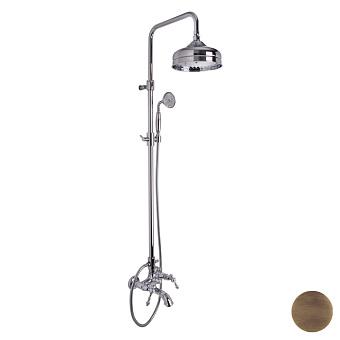 Carlo Frattini Epoque Смеситель для ванны со стойкой, в комплекте: шланг, ручной душ, верхний душ, цвет: бронза
