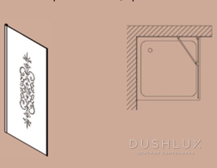 SAMO ETE Боковая стена 110хh187,5 по внеш.профилю прав/лев, профиль хром, стекло N6 прозр с матов.декором+St/Cl