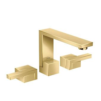 Axor Edge Смеситель для раковины, на 3 отв., с донным клапаном push/open, излив 173мм, цвет: золото