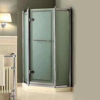 Devon&Devon Savoy Душевое ограждение пентагональной формы  J90 с декоративными эл-ми, стекло с декором 2S, цвет: хром