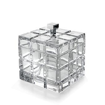 3SC Palace Баночка универсальная, 11x11xh13,5 см, с крышкой, настольная, цвет: прозрачный хрусталь/хром