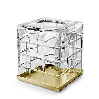 3SC Palace Контейнер для бумажных салфеток, 13х13х15 см, квадратный, настольный, цвет: прозрачный хрусталь/золото 24к. Lucido
