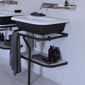 Agape Ottocento Раковина на стальной структуре 70x50x19.6 см, без отв., цвет: белый/темно-серый