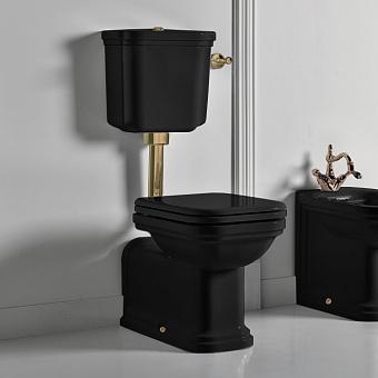 Kerasan Waldorf Унитаз напольный удлиненный 65х37см c низким бачком, трубой, цвет: черный/бронза, СИДЕНЬЕ НА ВЫБОР