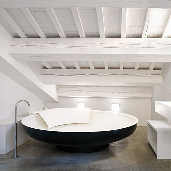 Agape Ufo Ванна отдельностоящая d204x50 см, круглая, 1 спинка, цвет: темно-серый