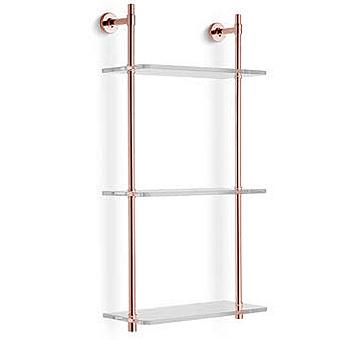 Bertocci Cinquecento Стеллаж с 3 стеклянными полками 30х62 см, цвет: розовое золото