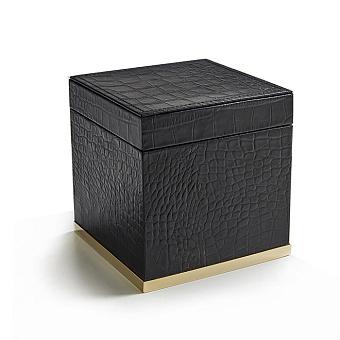 3SC Cocco Коробка с крышкой 14х14хh14см, отделка: черная кожа, цвет: золото 24к. Lucido