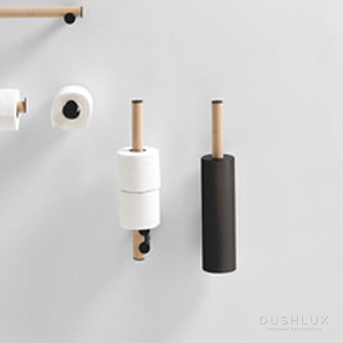 Agape Dot line Ёршик для туалета, подвесной, цвет: черный/натуральный дуб