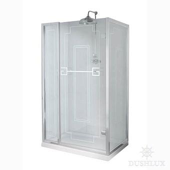 Душевое ограждение Gentry Home Athena 130х70 см угловое (слева/справа), дверь, две фиксированные панели, прозрачное, закаленное стекло 8 мм с греческим матовым декором, ручка и профиль - хром