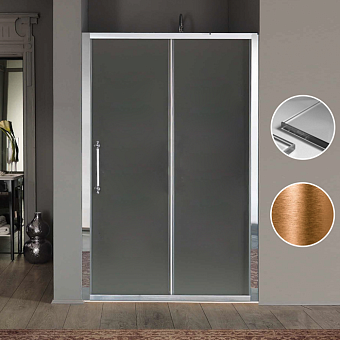 SAMO Impero Боковая стенка (77-80)хh200см, профиль бронза, стекло прозрачное+StarClean