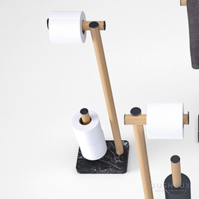 Agape Dot line Напольная стойка с держателем т/б и запасным держателем т/б, цвет: натуральный дуб/черный мрамор Marquinia