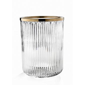 3SC Elegance Ведро, без крышки, 20хh28х20 см, цвет: прозрачный хрусталь/золото 24к. opaco