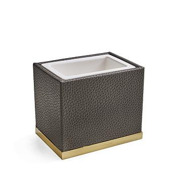3SC Milano Стакан настольный,  цвет: коричневая эко-кожа/золото 24к. Lucido