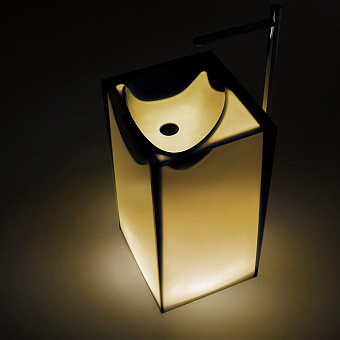 Antonio Lupi Astro Раковина 50х45х85 см, напольная, слив в пол, без отв для смесит, с дон клапаном, сифоном и трубой слива, Cristalmood, цвет: Ocra