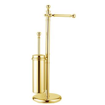 HUBER Croisette Напольная стойка с ершиком и бумагодержателем, цвет золото